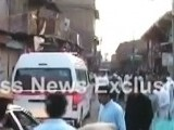 Ambulances arrive at the scene of the blast in Parachinar. PHOTO: EXPRESS