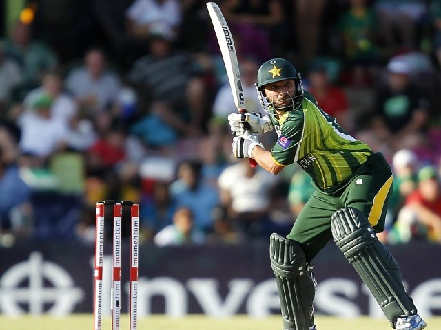 Pakistan's Shahid Afridi plays a shot during their One-Day International (ODI) cricket match against South Africa. PHOTO: REUTERS/FILE