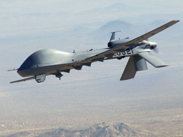 A US drone fired two missiles from an unknown location.  PHOTO: AFP/ FILE