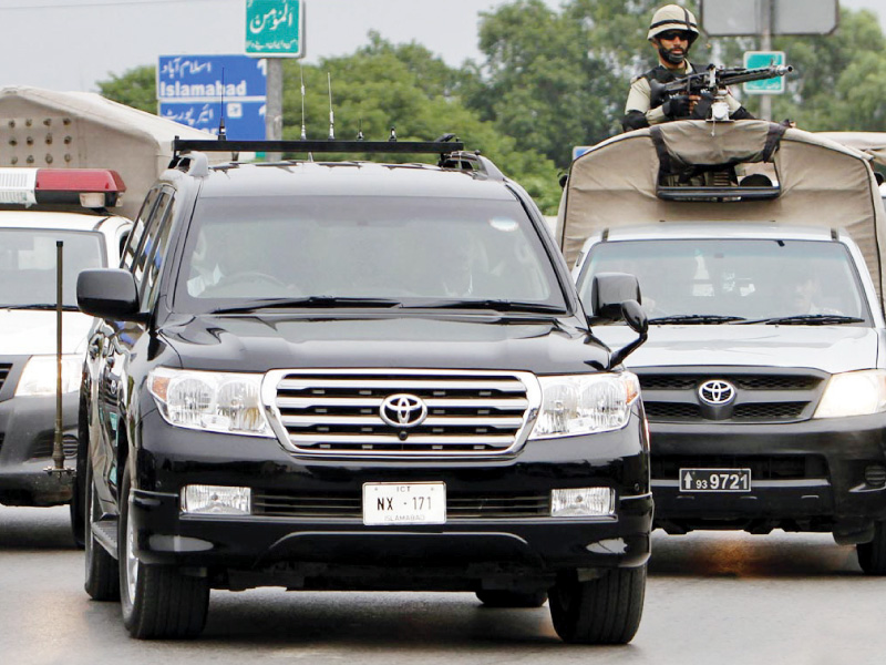 former president pervez musharraf s convoy returning after his atc hearing photo online