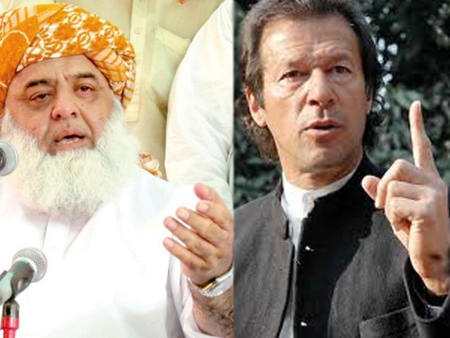JUI chief Fazlur Rehman and PTI Chairman Imran Khan had been at loggerheads since the time of the elections. PHOTO: FILE