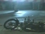 This screen grab shows a motorbike affected by one of the blasts that occurred near the Cineplex Cinema. PHOTO: EXPRESS