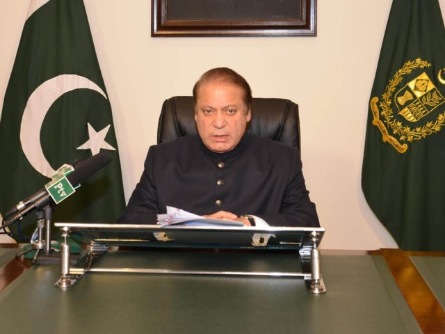 Prime Minister Nawaz Sharif addressing the nation over television and radio networks in Islamabad on August 19, 2013. PHOTO: PID