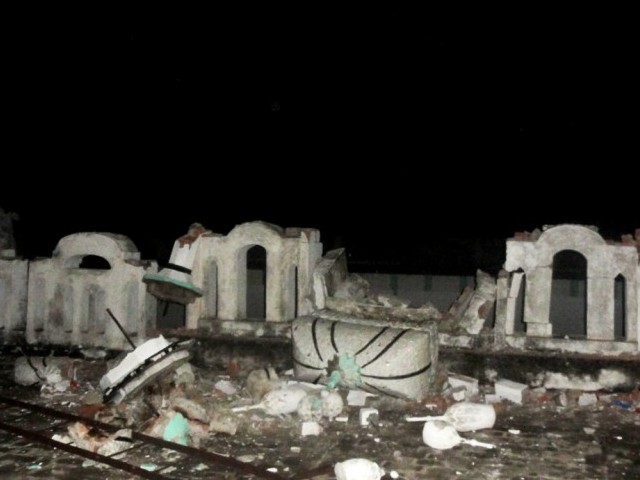 A photo showing a destroyed Ahmadi worship place. PHOTO: AHMADI COMMUNITY PRESS OFFICE