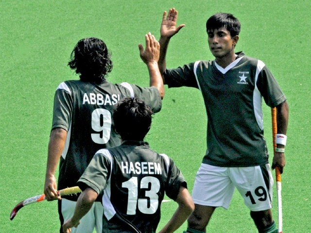 Pakistan triumphed in their Asia Cup opener as they defeated Japan 7-0 to set a winning tone in the competition with hopes of qualifying for the World Cup. PHOTO: AFP