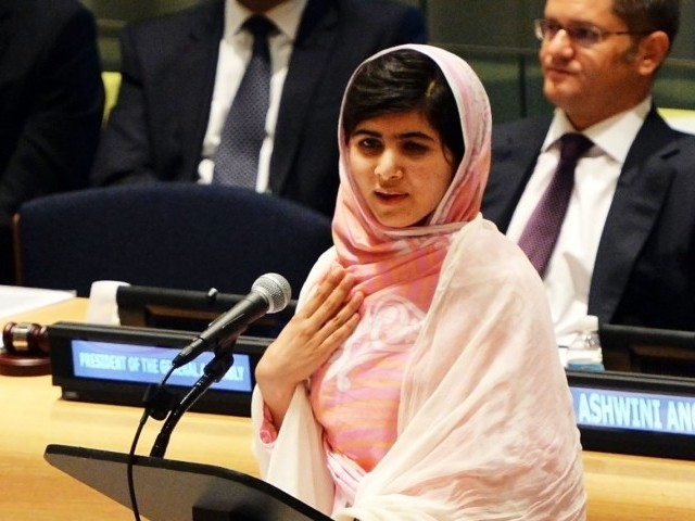 Pakistani student Malala Yousafzai speaks before the United Nations Youth Assembly July 12, 2013 at UN headquarters in New York.  PHOTO: AFP