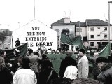 'You are now entering Free Derry' is one of the most famous murals in Northern Ireland's Londonderry. Part of the neighbourhood was taken over by the Catholics/Nationalists who kept the police at bay. Derry was the preferred name for the Catholics with the Protestants using Londonderry.