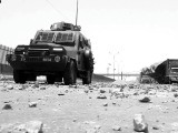 An armoured personnel carrier patrolling Mauripur in Karachi where violence broke out. SOURCE: INP/FILE