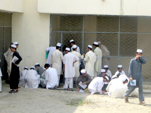 The college staff has asked the 455-strong intake to start attending classes from September 2. PHOTO: ABUZAR AFRIDI/EXPRESS