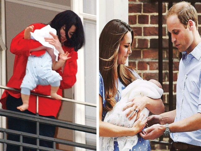 Michael Jackson with his baby, Kate Middleton and Prince William with their baby