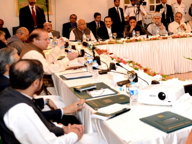 Prime minister Nawaz Sharif chiaring the All Parties Conferece at prime minister's house. PHOTO: PID