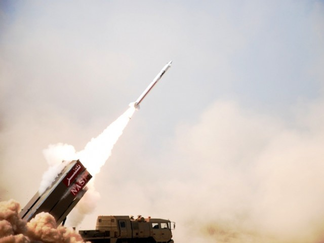 In this handout photograph released by the Inter Services Public Relations (ISPR) on February 10, 2013, a Pakistani Short Range Surface to Surface Missile Hatf IX (NASR) is launched from a multi tube launcher in undisclosed location. NASR, with a range of 60 km, and in flight manoeuvre capability can carry nuclear warheads of appropriate yield, with high accuracy. PHOTO: AFP/FILE