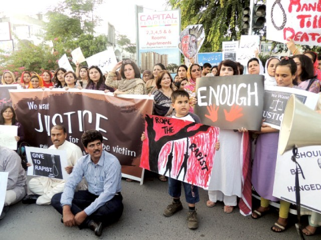 Chanting slogans, the civil society organisations demanded the release of missing video clips of Ganga Ram Hospital's security cameras and strongly condemned the wilful destruction of valuable forensic, chemical and DNA evidence. PHOTO: EXPRESS