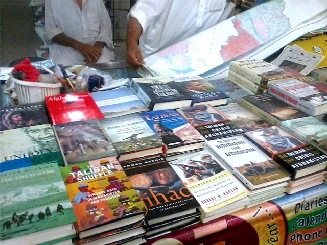Books on current affairs have gained prominence in existing bookshops of the city. Shelf upon shelf of books in English on Afghanistan, the Taliban and tribal areas are becoming a common sight. PHOTO: MUHAMMAD IQBAL/EXPRESS