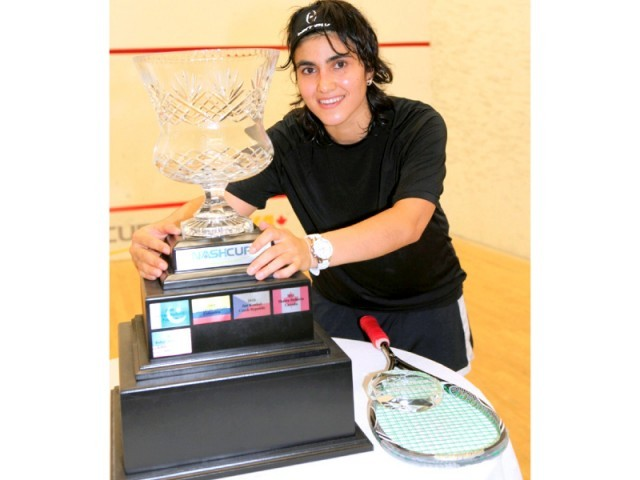 Maria Toorpakai poses with the trophy after winning the Nash Cup Ladies Tournament. PHOTO: NASHCUP.COM