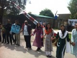 People forming human chain outside Islamabad church. PHOTO: MOHAMMAD JIBRAN NASIR