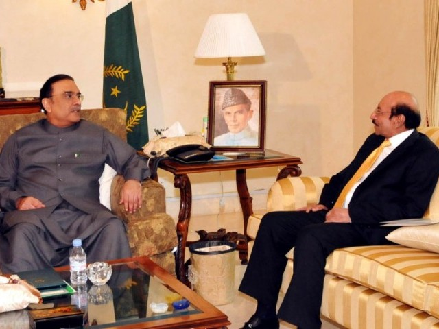 File photo of Chief Minister Sindh Syed Qaim Ali Shah (R) and President Asif Ali Zardari (L) at Bilawal House, Karachi. PHOTO: PID