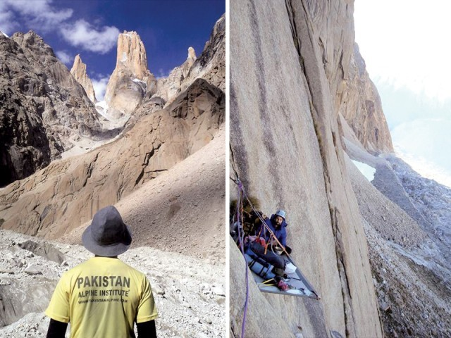 "The Trango Towers are located in G-B's Central Karakoram National Park which the mountaineers climbed after three days using a ""Portaledge."" PHOTOS: USMAN TARIQ"