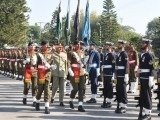 General Rashad Mahmood, Chairman Joint Chiefs of Staff Committee reviewing the parade at Joint Staff Headquarters. PHOTO: ISPR
