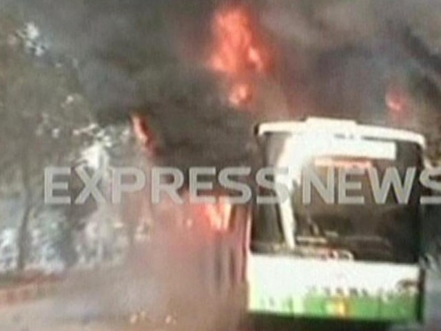 Screengrab of the passenger bus that students set on fire.