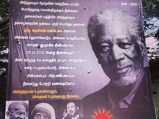 """We should be proud that we were part of an era when they lived,"" reads the billboard portraying Morgan Freeman as Mandela. PHOTO: @FarrukhHussaini/Twitter"
