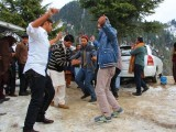 Tourists celebrate and dance at the Malam Jabba resort. PHOTO: FAZAL KHALIQ