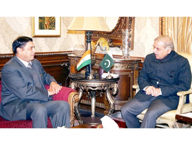 Indian High Commissioner TCA Raghavan meets CM Shahbaz Sharif. PHOTO: ONLINE