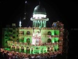 Kinzul Emaan Mosque in Karachi been decorated with lights on the eve of Eid Miladun Nabi. PHOTO: ONLINE