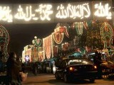 A car enters a street illuminated with lights ahead of Eid Miladun Nabi (pbuh). PHOTO: AGHA MEHROZ/EXPRESS