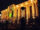 The Federal Board of Revenue building in Islamabad decorated with lights ahead of Eid Miladun Nabi (pbuh). PHOTO: APP