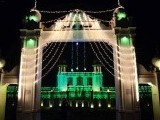 The main District Council Building in Faisalabad decked out in green and white lights ahead of Eid Miladun Nabi (pbuh). PHOTO: ONLINE