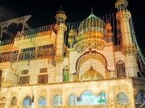 A mosque in Hyderabad smothered in lights ahead of Eid Miladun Nabi (pbuh). PHOTO: INP
