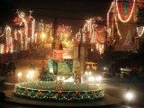 A Rawalpindi neighbourhood decorated with lights on the eve of Eid Miladun Nabi (pbuh). PHOTO: ONLINE