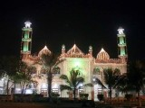 The Aram Bagh Mosque in Karachi lit up ahead of Eid Miladun Nabi (pbuh) .PHOTO: PPI