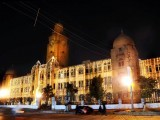 The Karachi Municipal Corporation (KMC) building lit up ahead of Eid Miladun Nabi (pbuh). PHOTO: MOHAMMAD NOMAN/EXPRESS