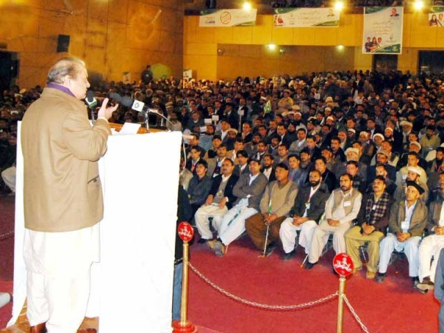 PM Nawaz launches his Youth Programme in Mingora. PHOTO: PPI