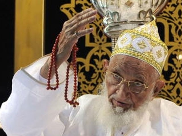 Syedna Burhanuddin, born in Surat, Syedna Burhanuddin was the leader of the Dawoodi Bohra community after succeeding his father Syedna Taher Saifuddin in 1965. PHOTO: AFP