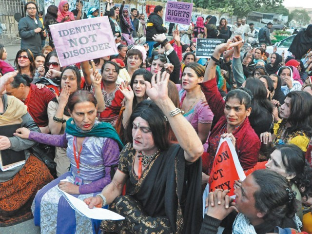 Transgender and social activists protest the discriminatory attitudes of government and civic authorities. The members demand the implementation of the two per cent job quota promised to them by the governemnt. PHOTO COURTESY: GENDER INTERACTIVE ALLIANCE