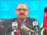 Express News screengrab showing one of the members of govt peace talks committee.