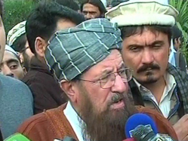 Express News screengrab of JUI-S chief Samiul Haq speaking to the media.