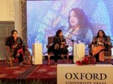 "A discussion between Rukhsana Preet and Rubina Abro on ""New Voices in Sindhi Poetry"" moderated by Amar Sindhu. PHOTO: ATHER KHAN/AYESHA MIR/EXPRESS"