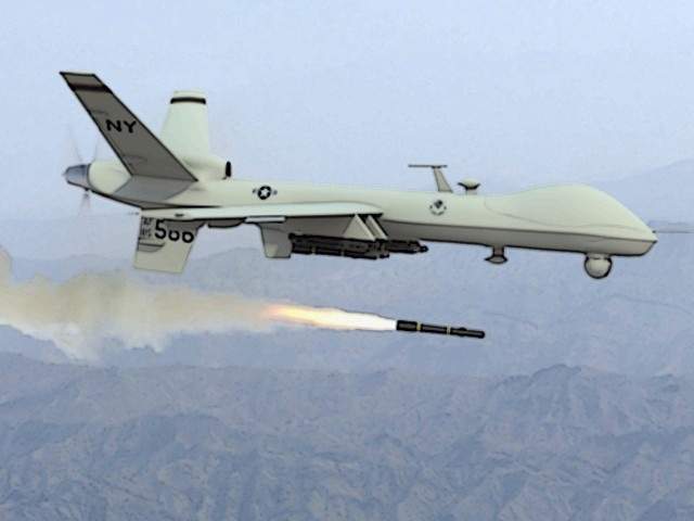 A photo of a drone firing a missile. PHOTO: AFP