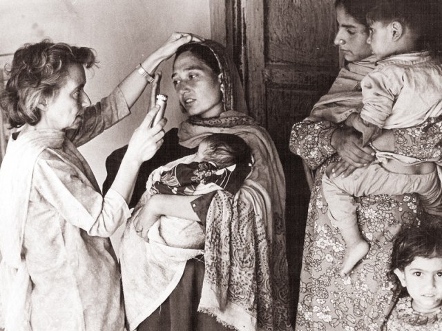 Examining leprosy patients during field work in Azad Jammu and Kashmir. PHOTOS:  MARIE ADELEIDE LEPROSY CENTRE ARCHIVES