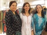 Fehmeen with friends. Anoushey Ashraf and Natasha Qizalbash of Block Seven exhibit their western line at Ellemint Pret, Karachi. PHOTOS COURTESY IDEAS EVENTS PR