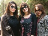 Hina and  Mariam with a friend. Sarah and Mariam Gandapur host a brunch at the Patio restaurant, Lahore.