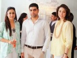 Wardha Saleem, Danish Lala and Sanam Chaudhri. Lala Textiles and Fashion Pakistan Council host a lunch to celebrate the start of Fashion Pakistan Week 6 at Café Aylanto, Karachi. PHOTOS COURTESY LOTUS PR