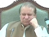 Express News screengrab showing Prime Minister Nawaz Sharif during a briefing.