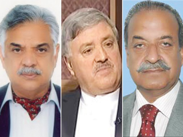 Iqbal Zafar Jhagra, Maj (r) Amir and Sardar Mehtab Abbasi. PHOTO: FILE