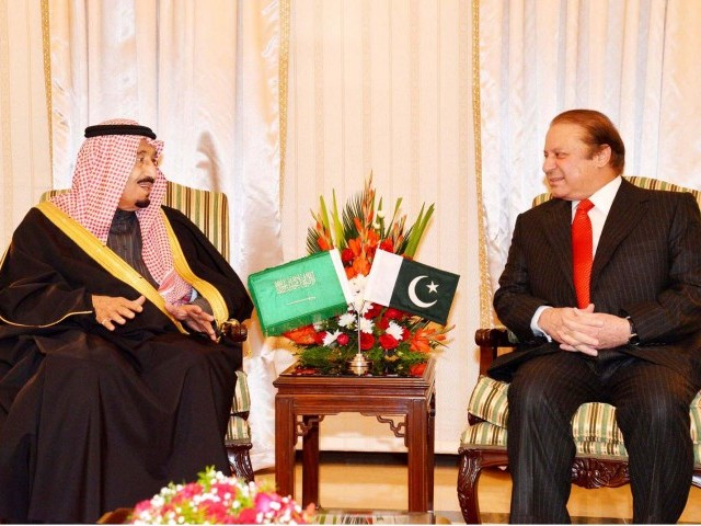 Prime Minister Nawaz Sharif meets Saudi Arabian Crown Prince Salman Bin Abdul Aziz at PM House, Islamabad on February 17, 2014. PHOTO: PID/FILE