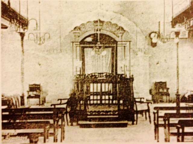 This photo of the interior of the Magen Shalom synagogue on Nishtar Road was provided by Diana Reuben to the book, 'Sindh: Past glory, present nostalgia'. PHOTO: FILE